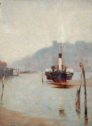 Paddle Steamer and Whitby Harbour