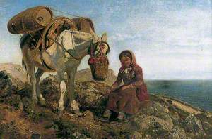 Italian Shepherdess on the Corniche near Nice
