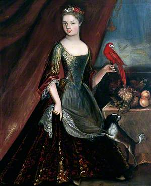 Portrait of an Unknown Girl in Green Dress with Parrot