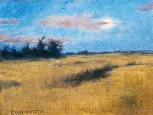 Canadian Landscape with Rising Moon