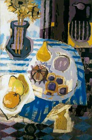 Blue-Striped Tablecloth