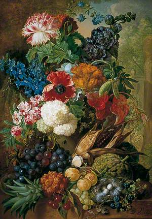 Still Life of Fruit and Flowers with Bird's Nest on a Marble Ledge