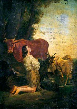 The Prodigal Son Kneeling among Cattle