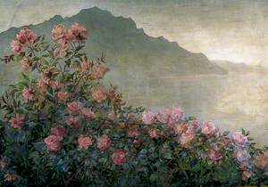 Rose Bush with a Mountainous Coast Scene Beyond