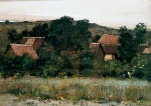 Landscape, Village among Trees