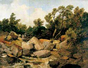 Rocky Landscape with Stream and Bridge