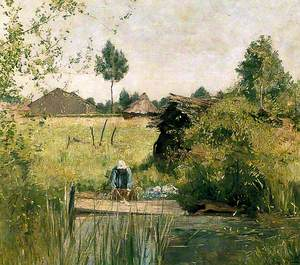 Landscape with Woman Washing