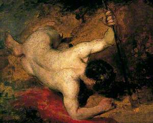 Reclining Male Nude with Spear