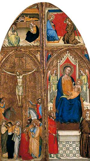 Virgin Enthroned with the Christ Child (right wing of a triptych) with the Annunciation above; Christ on the Cross (left wing of a triptych) with the Nativity above