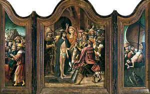 Christ Stands before His Judges (centre panel of triptych), the Praying Joseph is Lowered into the Well: His Brothers Stand around (left wing of triptych), Jonah is Thrown into the Sea: The Whale's Head Rises out of the Waves (right wing of triptych)