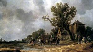 Peasants and Horsemen at an Inn