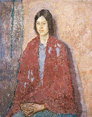 Young Woman in a Red Shawl