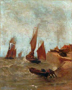 Harbour Scene with Sailing Boats and Ship Setting Out