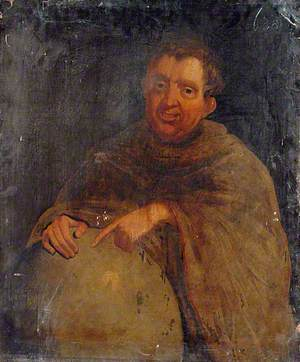 Portrait of an Unknown Man in a Robe Pointing at a Globe