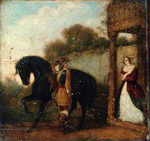 Cavalier with His Mount with a Woman Looking on