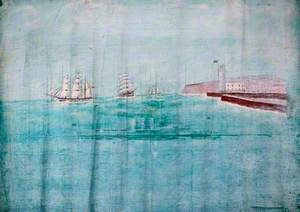 Three Sailing Ships off a Harbour Entrance