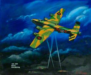 Halifax NP-U of 158 Squadron over Duisburg at Night