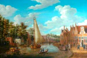 Dutch Canal Scene with Rigged Sailing Vessels and Figures among the Terraced Townhouses of Holland