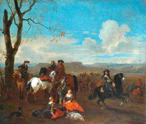 Hunting Scene in Wooded Landscape