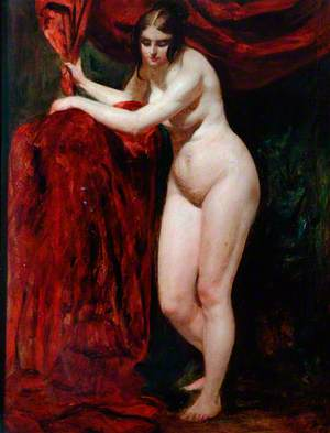Nude Woman, Holding Red Drapery