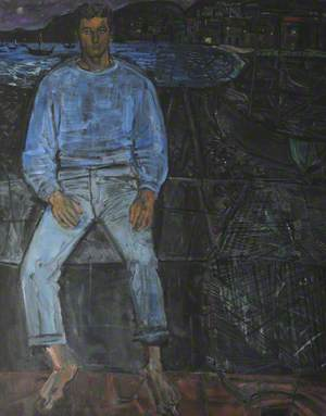 'David', an Unknown Man Sitting Barefoot on a Waterfront