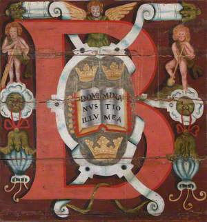 Historiated Letter 'B' in Ceiling Panel