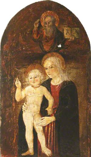 The Madonna and Child with God the Father above