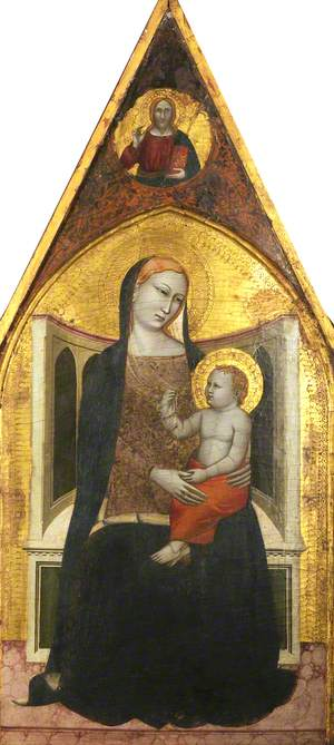 Virgin and Child Enthroned: in a Medallion above, Christ Blessing