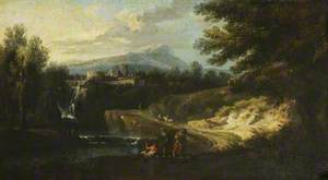 Romantic Landscape with Figures by a River, a Citadel in the Middle Distance