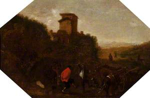 Landscape with Peasants Dancing, near a Tower in the Campagna