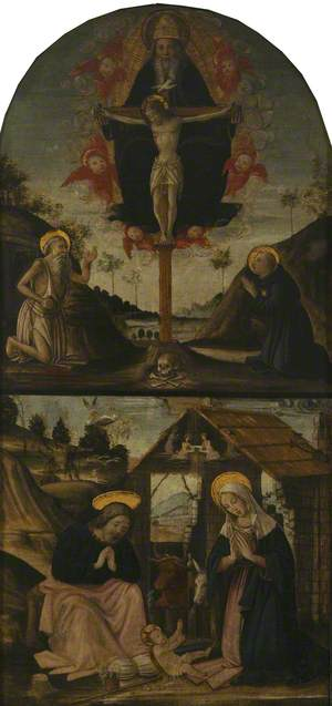The Trinity Adored by Saints Jerome and Nicholas of Tolentino; below, the Nativity