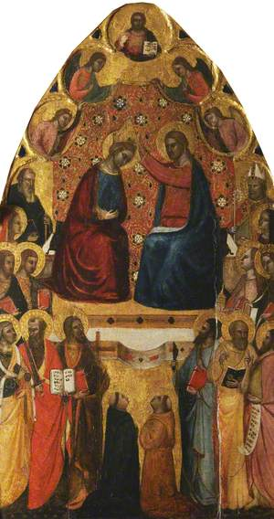 The Coronation of the Virgin, with 16 Saints Standing or Kneeling
