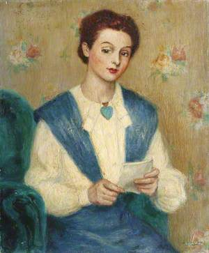 Lady in Blue and White Reading a Letter