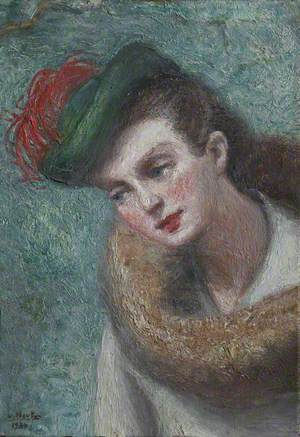 Portrait of a Lady in a Green Hat with a Feather