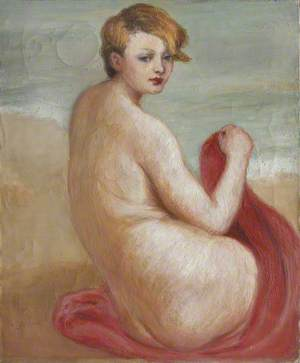 Nude with a Red Towel on a Beach