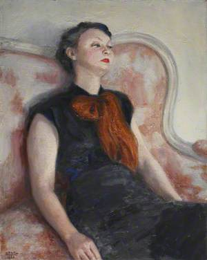 Portrait of a Lady Reclining in an Orange Scarf