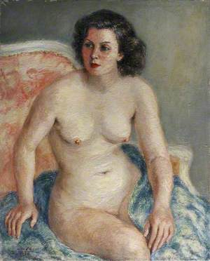 Nude Seated on a Blue Blanket