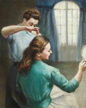 Portrait of a Lady Brushing Her Hair with a Maid