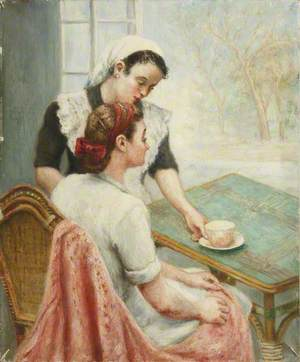 Portrait of a Lady and Maid with a Cup of Tea