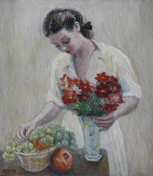 Girl with Fruit and Flowers