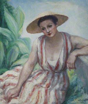 Girl in Red Striped Dress