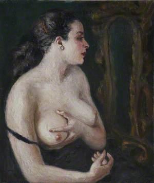 Semi-Nude Looking in Mirror