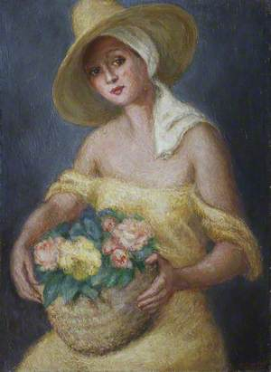 Lady in Yellow Carrying a Basket of Flowers