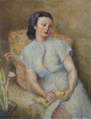 Lady Knitting with a Vase of Freesias or Crocosmia (?)