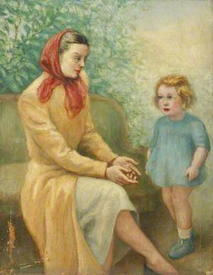 Mother with a Red Headscarf and Child