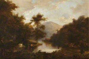 Figures by a River in a Mountainous Landscape