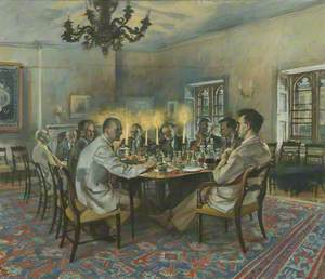 Group in Summer Common Room: P. Johnson (1904–1996), C. A. Cooke (1903–2001), A. W. Raitt (1930–2006), C. Grayson (1920–1998), C. G. Hardie (1906 –1988) , R. S. Stanier (1907–1980), H. M. Sinclair (1910–1990), G. N. C. Crawford (b.1919) and B. B. Lloyd (1920–2010)