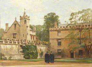 The Grammar Hall from St John's Quadrangle in 1881: President Bulley in the Lodgings Drive and Two Others