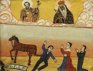 Votive Painting Showing a Man Being Kicked by a Horse, Naples, Italy