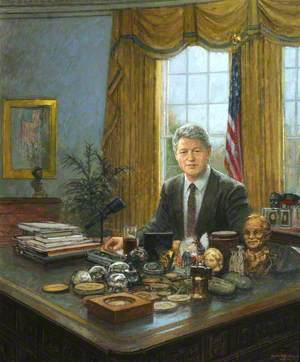 Bill Clinton, 42nd President of the United States of America (1993–2001), Rhodes Scholar (Arkansas and University College, 1968), Seated at His White House Desk